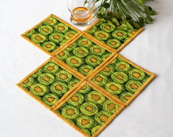 Quilted Coasters, Kiwi Coasters, Green Yellow Coasters, Kiwi Mug Mats, Fabric Coasters, Set of 6 Coasters, Quiltsy Handmade