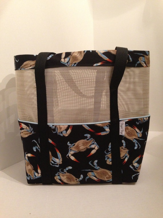 Tan Mesh Beach Tote With Outside Pockets Made From Blue Crab