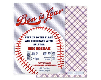 BASEBALL Birthday Invitation - Preppy, Navy and Red - Customized Digital or Professionally Printed Invitation
