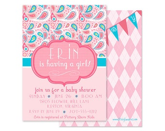 Pink and Aqua Paisley Baby Shower or Birthday Party Invitation-Customized and Printable
