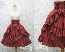 High Waist Skirt - Red Maroon Classic Gothic Lolita - Ruffle Rococo Victorian Inspired
