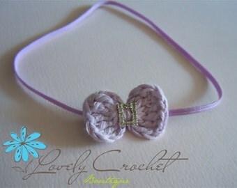 Newborn Crochet Baby Bow with Sparkling Diamond Rhinestone with Skinny Headband-all sizes available-choose color. Baby Headband