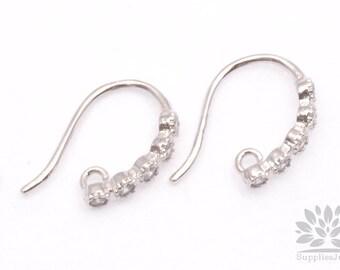 E208-R// Rhodium Plated Rhinestone Earwire, 2pcs