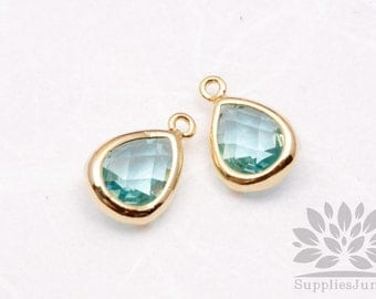 F121-G-IB// Gold Plated Ice Blue Faceted Teardrop Glass Pendant, 2 pcs