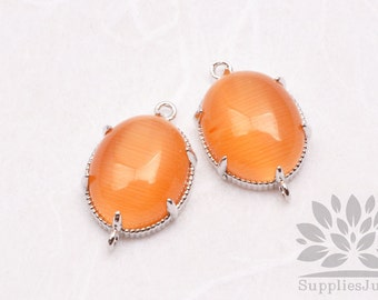 F122-S-SO// Silver Framed Orange Sun Opal Cats Eye Smooth Oval Glass Connector, 2 pcs