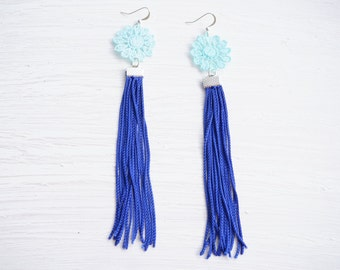 Baby Blue and Cobalt Tassel and Lace Earrings