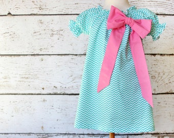 Aqua Chevron Peasant Dress - Easter Big Bow Dress Size 2T READY TO SHIP