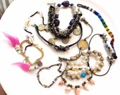 assorted junk jewelry bracelets lot  craft supplies assemblage altered art steampunk project 12 pieces  lot 76
