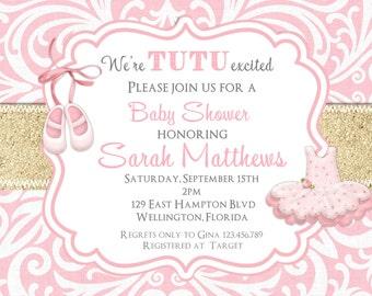 Gold Glitter Tutu Cute Baby Shower Invitation