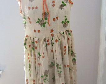 1940s teen day DRESS Antique rose floral print cotton adult petite 0