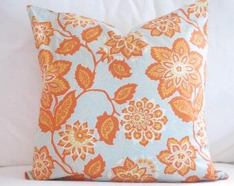 decorative pillows, pillow covers, spring pillows, spring couch pillows, floral pillows, flower pillows, orange blue pillows, 18 inch pillow