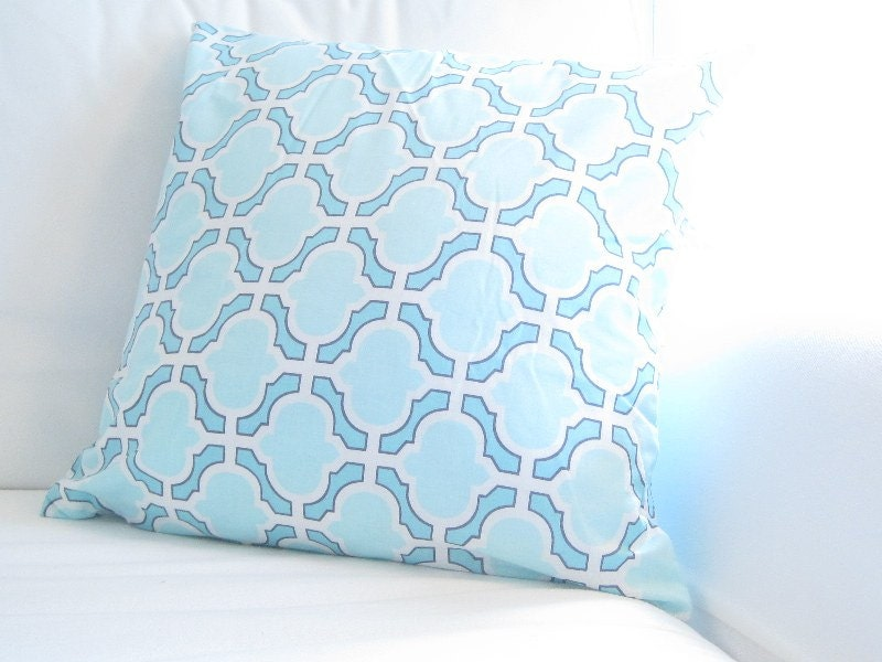 Blue White Trellis Decorative Pillow Lattice by FineFreshDesign