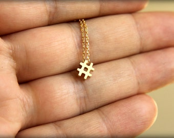 Hashtag Necklace, Available in Silver, Gold, and Rose Gold
