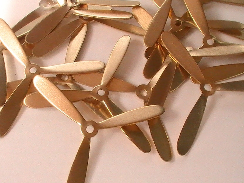 RESERVED for Jean Large Airplane Propeller Raw Brass Stamping Steampunk Metal Findings Collage Mixed Media Unplated DIY Finish 4pcs steampunk buy now online