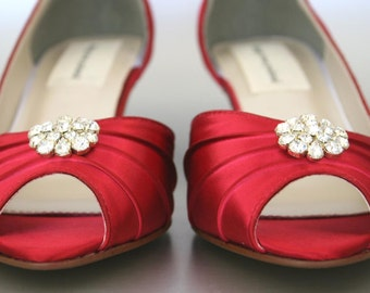 Wedding Shoes, Bridal Heels, Red Wedding Shoes, Kitten Heels, Peep Toes, Simple Wedding Shoes, Red Wedding, Simple Bridal Heels, Red Shoes