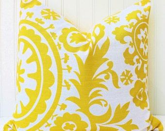 Yellow Pillows-Decorative Throw Pillow-Yellow Cushion Covers-Yellow White Pillow Cover-Suzani