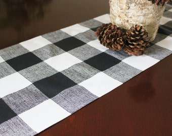 Buffalo Check Table Runner Table Cloth Table Square Black White Buffalo Check Cabin Woodland Black and White Plaid Wedding Runner