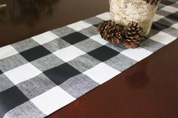 Black Table Runner Table Cloth Black White Buffalo Check Cabin Woodland Decor Premier Prints Black and White Plaid Wedding Runner