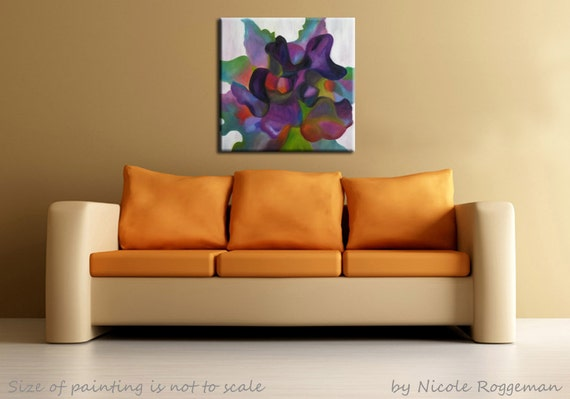 Iris, Flower Art, Gifts For Mom, Abstract Art, Colorful Flower, Black Iris,  Rainbow, Flower, Oil Painting Of An Iris, Garden Art, Purple