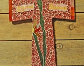 Cross, Mosaic, Stain Glass and Polymer Clay Floral Cross, Rose & Multi Color Florals