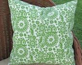 "Green Suzani Print Indoor Outdoor Pillow Cover 18"" Square"