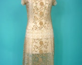 GORGEOUS Lavishly Embroidered Tulle 1923 French Estate FLAPPER 1920s Dress - Silk Embroidered lace EXCELLENT Condition Very Wearable