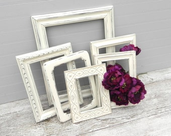 Shabby Chic Antique Heirloom White Frame Collection, Six Upcycled Photo Frames,, Wedding Decor Frames