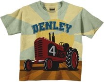 Red Tractor Shirt, Personalized Boys Farmer Birthday T-Shirt, Farm Tractor Number Shirt