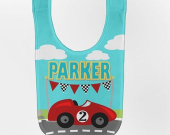 Race Car Baby Bib, Personalized Baby Bib, Baby Boy Racing Birthday Bib, Custom Infant Bibs