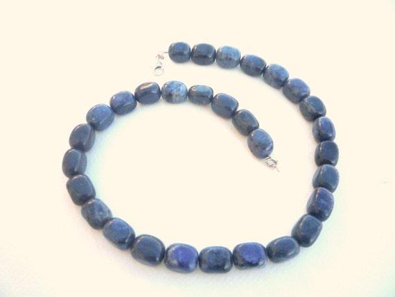 Gemstone necklace,Blue gemstone  necklace, Dumortierite gemstone necklace, Blue Denim necklace, Beaded necklace, Natural semiprecious stones
