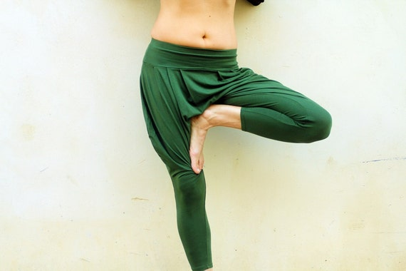 Yoga Pants Drop Crotch Pants Loose Pants Green Harem Pant