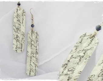 Long Leather Earrings, Decoupage Victorian Earrings, Calligraphy Script Earrings, Long Script Earrings, Leather Jewelry, Gothic Earrings