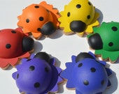 Babies First Counting Sorting  Montessori Wooden Rainbow Sensory Toy Ladybugs And Flowers