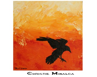 Impasto Crow Modern home or office decor original acrylic painting in yellow,orange and black of a silhouette flying crow 12x12 canvas