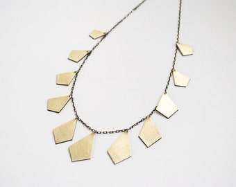 Gold necklace, leather necklace, black and gold, geometric necklace, boho necklace, minimal necklace, summer trends, gift for her