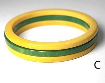 Bakelite bangle bracelet spacers. set of 3. butterscotch, creamed spinach. Confirmed Bakelite.