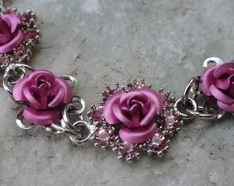 Vintage Pink Rose Avon Necklace