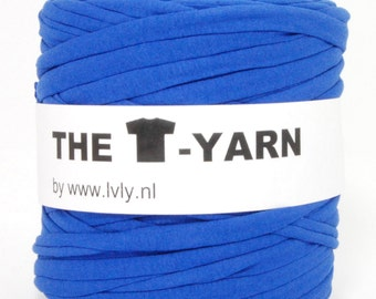 The t-shirt yarn 120-135 yards, 100% recycled cotton tricot yarn, blue 116