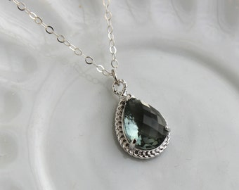 Charcoal Gray Necklace Silver Teardrop Grey Jewelry Sterling Silver Chain - Bridesmaid Jewelry - Wedding Jewelry - Charcoal Necklace Gray