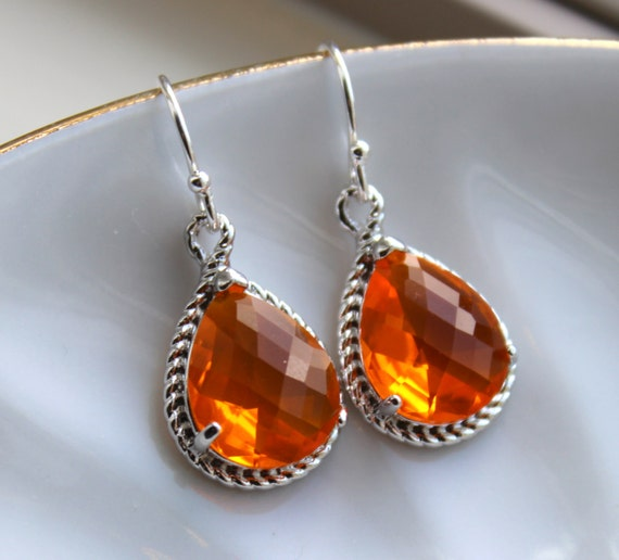 silver burnt orange earrings amber jewelry tangerine
