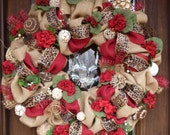 "30"" BURLAP, LEOPARD and GERANIUMS Spring or Summer Wreath"