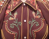 California Ranchwear Brown Embroidered Western Shirt Size 15 1/2