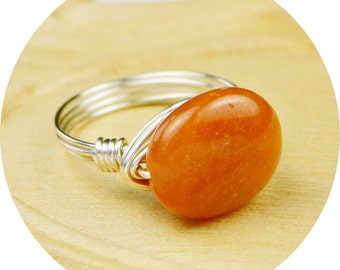 Sale! Pumpkin Orange Gemstone Wire Wrapped Ring- Sterling Silver Filled Wire - Any Size-  Size 4, 5, 6, 7, 8, 9, 10, 11, 12, 13, 14