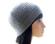 Women's Vegan Crocheted Sequinned Beanie Hat in Gray, Medium to Large Size
