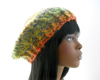 Women's Crochet Hat, Mohair - Blend Slouchy Hat, Green and Orange Sparkly Beanie Hat, Large to Extra Large Size