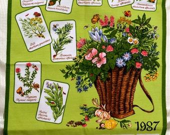 1987 Calendar tea towel with Herbal Flowers