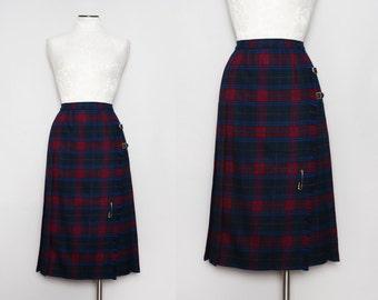 Vintage Pendleton Wool Skirt. Wrap Skirt. Plaid Pleated Skirt. Size Medium. Tartan Skirt. 80s Punk Style. Kilt Style Skirt.