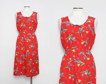 Vintage 1970s Red Floral Sundress / 70s Tulip and Heart Dress / Large
