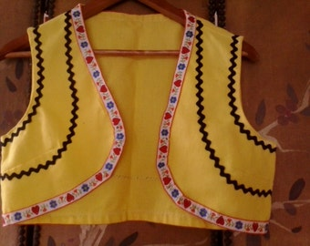 Bright yellow embroidered waistcoat