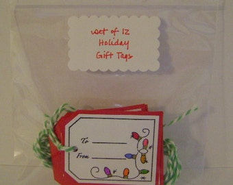 Holiday SALE ** Set of 12 Red and/or Green Holiday Gift Tags